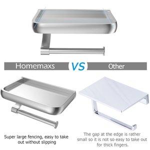 Tenedor de papel higiénico de montaje en pared HomemAxs Soporte de papel de papel de aluminio Dispensador de rollo de inodoro con estante de almacenamiento de teléfono para baño GWF4852