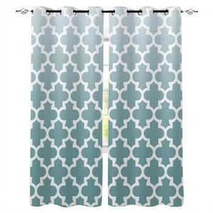 Fashion Window Curtains for Living Room Cyan Grey Gradient Retro Morocco Curtain Bedoom Window Home Decoration cortinas1