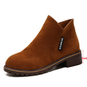 2021 Women's Zip Ankle Boots New Autumn Suede Leather Square Low Heels Classic Shoes Ladies Fashion Casual Footwear 9019