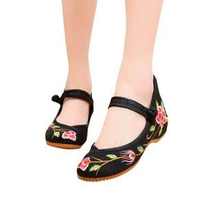 Youyedian Ayakkabı Kadın 2020 Bahar Yaz Tuval Toka Büyük Çiçek Ulusal Rüzgar Işlemeli Ayakkabı Zapatos De Mujer Tac N # Y3