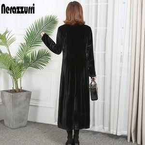 Nerazzurri high quality trench coat for women fall peaked lapel plus size long overcoat british style velvet blazer 5xl 6xl 201119