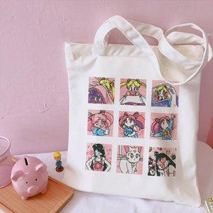 Sailor Moon Large Capacity Harajuku Casual Ulzzang Women pink College new Canvas Summer Chic Japanese Cartoon Shoulder Bags