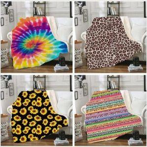Coral Fleece Blanket Leopard Grain Sunflower Stripe Cartoon 3D Printed Blanket Winter Warm Thickened Sofa Blanket WY368