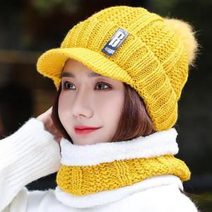 2020 New Set Women's Knitted Hat Scarf Caps Neck Warmer Winter Hat For Ladies Girls Skullies Beanies Warm Fleece Caps