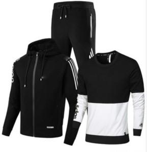 Conjunto de los nuevos hombres del otoño del resorte de los hombres de deporte Conjunto de 3 piezas SportingTrack adapta a la chaqueta + Pant Sweatsuit masculino con capucha del chándal Set