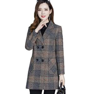 Middle-aged Women Coat Autumn Winter Jacket New Fashion Plaid Woolen Coat Plus Size XL-5XL Mid-Long Outerwear Women Basic