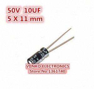 10uF 50V 5X11mm электролитический конденсатор 50V 10uF 5 * 11мм Оптово Свободная перевозка груза 500pcs алюминиевый электролитический конденсатор Jomh #