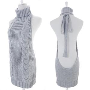 Forerun Moda Autunno Virgin Killer maglione coreano spalle maglieria Womens dolcevita Backless sexy Pullover 200929
