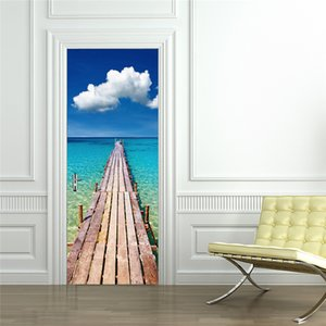 Cloud Beach Stickers for Door Beautiful Scenery Wooden Bridge Waterproof Removable Stick on Wallpaper Murals Home Decoration