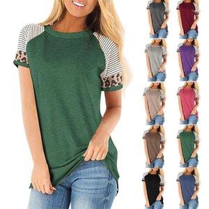 New Summer Autumn Women T-Shirt Cotton Vogue Solid Leopard Stripe Harajuku Long T Shirt O-neck Streetwear for Girl Plus Big Size1