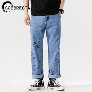 Goesresta Coreano Fashoins Jeans Pantalones Hombres Vintage Pantalones rectos Hip Hop Streetwear Harem pantalones Harajuku Hombres Jeans 201111