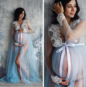 DHL 50pcs Pregnant Women Lace Long Sleeve Maternity Dress Ladies Gown Photography Photo Shoot Clothing