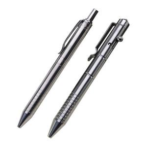 Sólida aleación de titanio tinta del gel de la pluma de la vendimia Perno Acción escritura herramienta Papelerías Y200709