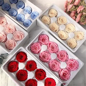 Hot 8pcs box High Quality Preserved Flowers Flower Valentines Immortal Rose 5cm Diameter Mothers Day Gift Eternal Life Flower Gift Box