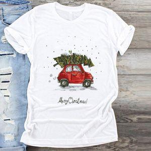 Women Car Tree Snow Cartoon Clothing Cute Merry Christmas Print Clothes Graphic Female Tshirts Top T Shirt Ladies Tee T Shirt