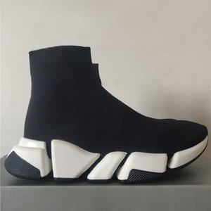 2020 Hız Sneakers 2.0 Oreo Üçlü Siyah Temizle Siyah Jakarlı Örgü Beyaz Siyah Graffiti Sole Düz Çorap Botları Erkek Kadın Rahat Ayakkabılar