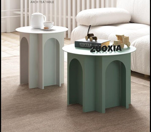 Iron tea table marble living room bedroom sofa northern Europe modern simple bay window, small round table