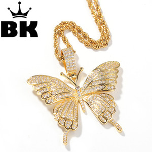 THE BLING KING Custom the butterfly Necklace Hip Hop Full Iced Out Cubic Zirconia gold sliver CZ Stone 200928