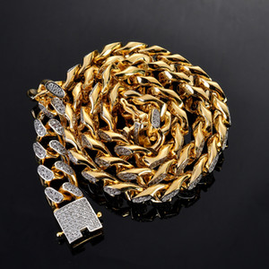 14mm width 18inch 22inch Iced out Copper Cuban Chain CZ Hip Hop Necklace Jewelry For Men