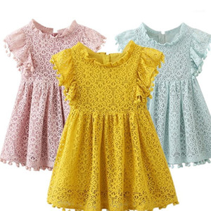 Flower Girls Dress Summer Lace Tutu Ball Gown Children Clothes Princess Party Wedding Evening Kids Dresses for Girls Size 3-8T1