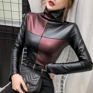 Women Autumn PU Faux Leather Plaid T Shirt Top Female Long Sleeve Harajuku Patchwork T-shirt Turtleneck Slim Warm Velvet Tee Top