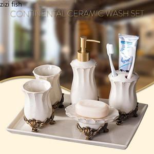 Baño clásica Conjunto de cerámica del sostenedor portable del dispensador de jabón Cepillo de dientes enjuague bucal Copa base de resina de alta calidad de baño Suministros