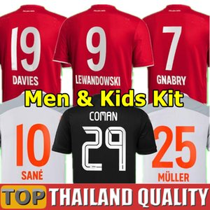 FC Bayern Münih 20 21 SANE Lewandowski Coman Gnabry Alaba Davies Muller Munich Futbol Formaları 2020 2021 Futbol Gömlek Seti Erkekler Kids Kiti Üniforma