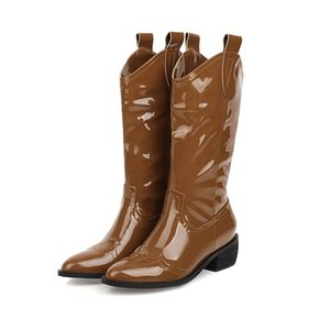 2021 New High-quality Leather Fashions Heels to Black Toe Women's Middle Shoes Calf-sized Boots J324