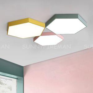 Ultrathin LED plafonnier moderne lumière hexagonale acrylique lampe intérieur lampe de cuisine chambre porche décoration lumière luminaire ac110-265v