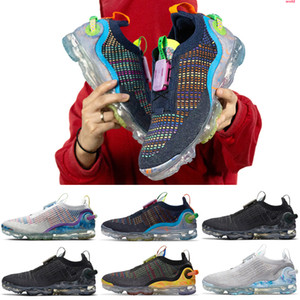VaporMax 2020 FK Zapatos Venta caliente de la mosca 2.0 II de punto FK zapatos para hombre del oeste de ocio Negro Blanco zapatillas de deporte ocasionales respirables Tamaño 36-46