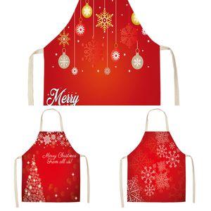 Babbo Natale Decorazione rosso senza maniche in grembiule Cotone Lino Cucina Grembiuli Donna Home Cooking cottura Vita Bib Pinafore MX0005 O32M