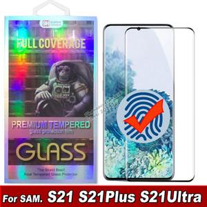 3D Kavisli Temperli Cam Telefon Ekran Koruyucu için Samsung Galaxy S21 S20 S10 Note20 Artı Ultra S10 S8 S9 Cam Perakende Kutusunda