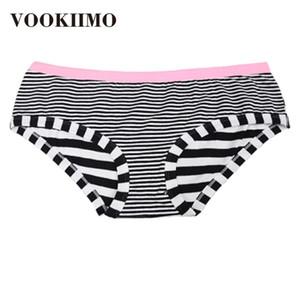 VOOKIIMO 2020 calcinhas novas mulheres macia roupa interior de algodão menina Briefs Ms preto e branco listrado plus size respirável cuecas