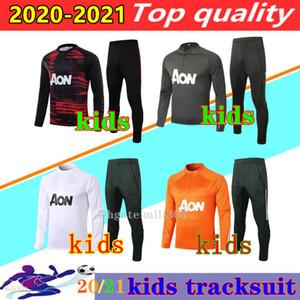 20 21 مانشستر الاطفال كرة القدم سترة أطقم دعوى التدريب 2020 2021 UTD فان دي بيك راشفورد بوجبا B.fernandes بنين كرة القدم جاكيتات رياضية