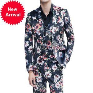 3 ADET Çiçek Abito UOMO Cerimonia Kostüm Mariage Homme Rahat Erkekler İş Smile Slim Fit Suit