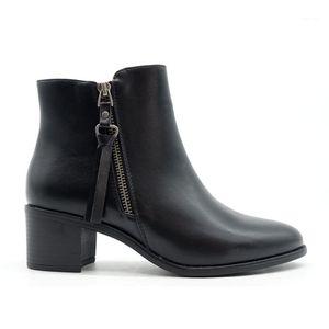 Yeni Geldi Rahat Ayak Bileği Temel Ayakkabı Kadın Ayakkabı Kadınlar Ile Tırnak Topuklu Side Fermuar Moda Middle Heel Classic1