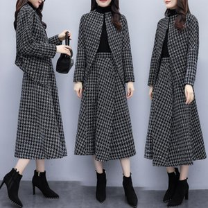 Ladies 2 Piece Skirt Suit 2020 Autumn Winter Houndstooth Cardigan Jacket Coat and Midi Long A Line Skirts Fashion Casual Plaid