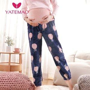 Yatemao Nuova maternità Pigiama Pantalone gravidanza Pant Flanel Abbigliamento Sleepwear Abbigliamento Abbigliamento adustavole Nightwear Donne Donne Loung Vestiti LJ201123