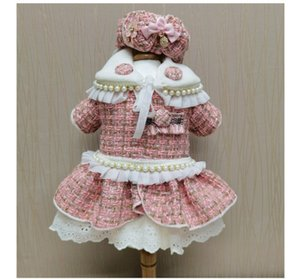 new luxury small fragrance pet clothes with cotton insulation teddy bear dog skirt