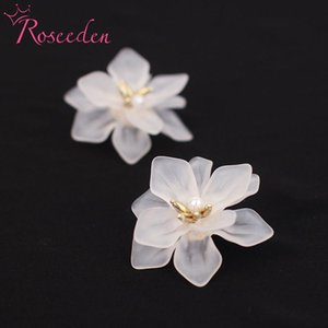 Dangle & Chandelier Elegant White Flower Women Earrings Fashion Pearl Ear Stud Brides Bridesmaid Party Jewelry RE3703