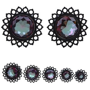 New Arrival 1 Pair Acrylic Black Flower Design Saddle Ear Plug Tunnel Jewelry Body Piercing 9-16mm Choose