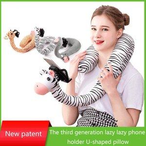 Lazy téléphone oreiller artefact multi-fonction U Support 2-en-1 Cartoon Giraffe net Celebrity Pillow Décorations de Noël