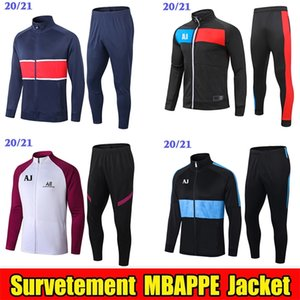 2020 2021 Mbappe Calcio Giacca Survêtement formazione del rivestimento del vestito 20 21 Tuta Sportwear Bambini SET Windbreaker Zipper Verratti jogging