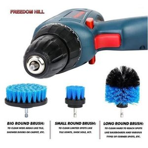 1 Set 3 PCS Electric Drill Brush Kit Plastic Round Cleaning Brush For Carpet Glass Car Tires Nylon Brushes Scrubber Drill1