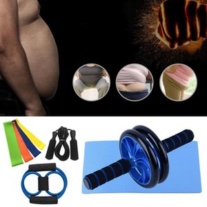8 pieces   assembly abdominal wheel 8 pieces latex strength belt extractor 3M rope jump home fitness equipment components