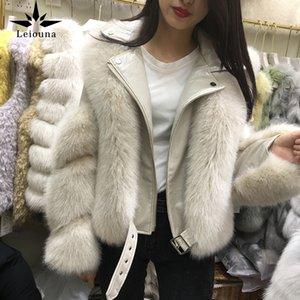 Leiouna Full Fox Fur Winter New Fashion Grass Short Zipper Jacket Female Stitching Model One Fur Women's Parkas Overcoats 201020