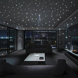 Glow 207pcs dans le vinyle noir lumineux Dot Round Stickers Muraux Comme Star Night Party Romantique Anniversaire X08b
