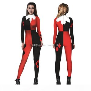 3D Catsuit Women Halloween Cosplay Jumpsuit Joker Skinny Pant Long Sleeve Bodysuit Cop Outfit Costume Party Dress