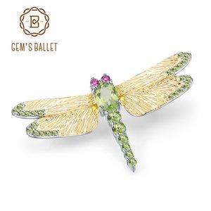 Балет GEM 1.13CT Натуральный зеленый Peridot драгоценный камень Брошь 925 стерлингового расслоения Handmade Dragonfly броши для женских платьев 201009