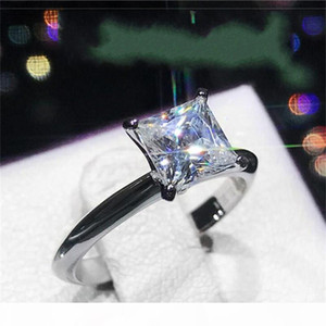 Classic Luxury Real Solid 925 Sterling Silver Ring 2Ct Princess-cut SONA Diamond Wedding Jewelry Rings Engagement For Women